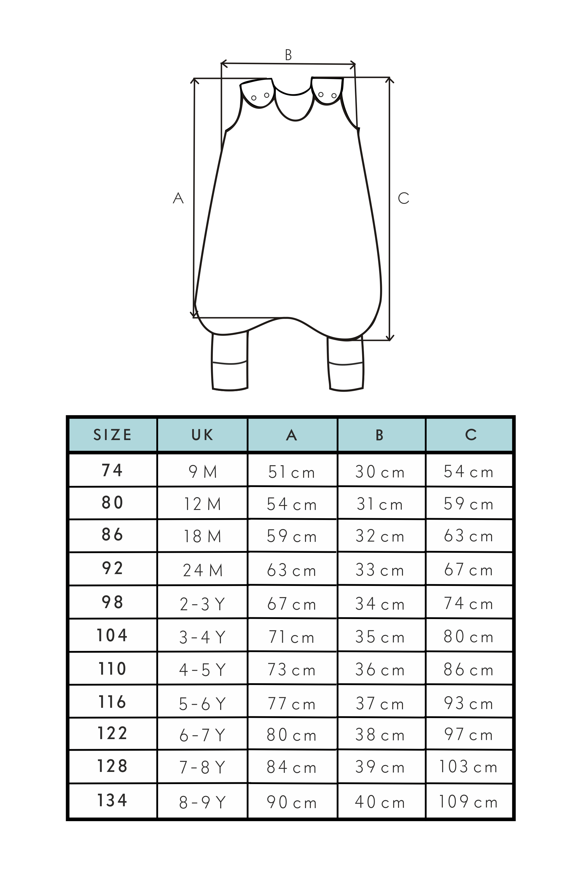 Toddiebag Size Guide